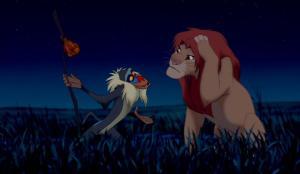 Viisas mandrillitietäjä neuvoo Simbaa.